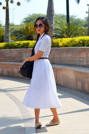 AJ dress - Forever21 sunglasses - vintage belt AJ belt - lace pumps AJ pumps