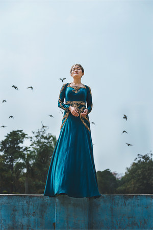 teal maxi dress Roora dress