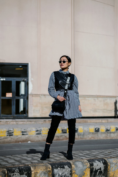 black shirt dress Zara dress - black box Givenchy bag