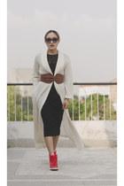 black lace black aj store dress - off white aj store coat