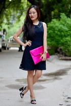 hot pink clutch Koovs bag - vintage 60s aj store dress - aj store heels