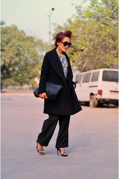 aj store coat - sequin grey aj store sweater - aj store bag