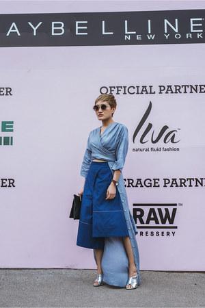 sky blue shirt dress Kanelle shirt - navy asymmetrical Kanelle shorts