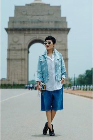 sky blue denim jacket Gap jacket - navy bermuda denim aj store shorts