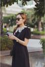 Black-aj-store-dress-black-vintage-prada-bag-periwinkle-wedges-nike-sneakers