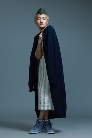 silver Bhane dress - navy woolen Bhane cardigan - light blue wedge nike sneakers
