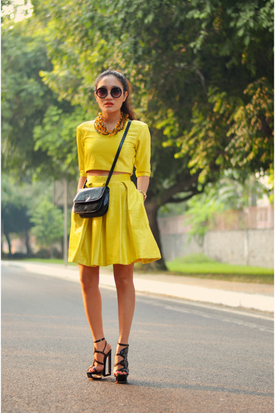 Prada bag - AJ sunglasses - neon skirt AJ skirt - Shoe One wedges