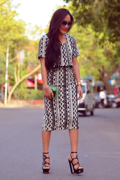 acrylic clutch Zara bag - AJ top - AJ skirt