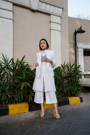white shirt dress Zara dress - white white Mark & Spencer blazer