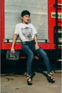 Blue-sj-jeans-jeans-black-van-heusen-bag-white-people-t-shirt