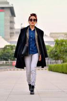 American Eagle shirt - ankle black asos boots - aj store blazer