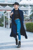 navy high waist Topshop jeans - brown high waist asos belt
