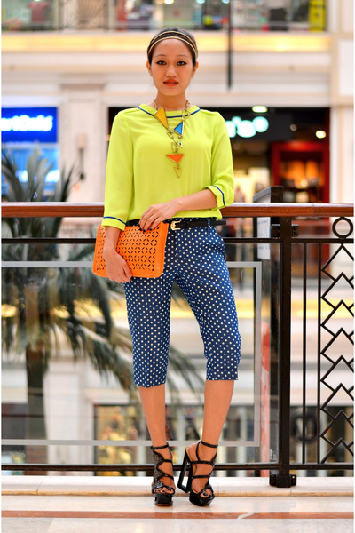 orange clutch bysi bag - bysi pants - waist bysi belt - neon bysi top