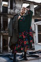 green H&M Kenzo dress - dark green parka H&M Kenzo jacket