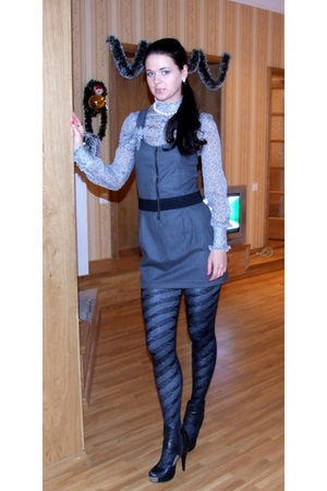 Saks Fifth avenue blouse - Zara dress - lindex tights - Steve Madden shoes