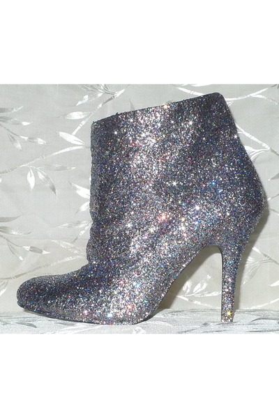 silver diy glitter boots