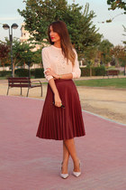 brick red leather tintoretto skirt - light pink cotton Zara shirt