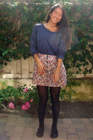 Forever 21 skirt - Forever 21 shirt - black tights unknown tights