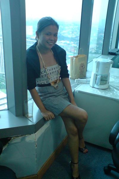 blazer - top - skirt - belt - shoes