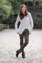 army green skinny camo Zara pants - black DV Dolce Vita boots