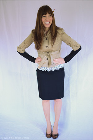 white lace madewell shirt - black J Crew shirt - dark khaki Miu Miu jacket