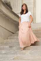 light pink chiffon maxi ann taylor skirt - white James Perse t-shirt