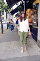 green Gap pants - army green moop bag - brown zigigirl sandals