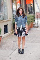 blue denim jacket Joes Jeans jacket - black floral Tibi dress