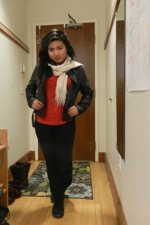 black leather thrifted jacket - dark gray snow LLBean boots