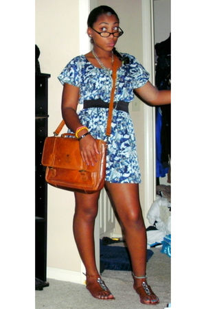 brown DSW shoes - brown vintage bag - blue Forever 21 dress