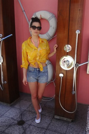yellow silk vintage shirt - blue H & M shorts - white Yosi Samra flats
