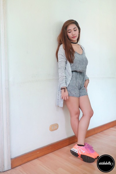 silver cardigan - silver Forever 21 romper - carrot orange nike sneakers