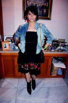 jacket - boots - dress - earrings - - purse