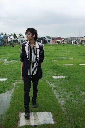black DIY Hand-painted blazer jacket - black thrifted shirt - Zara jeans - black