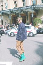 aquamarine faded Dr Martens boots - camel Terranova jeans