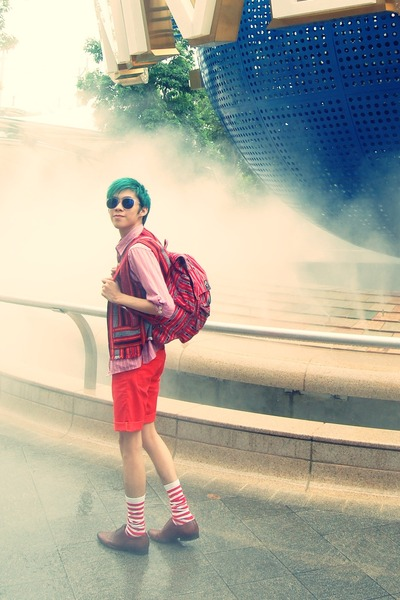 red red shirt - red red shorts - red tribal Igurot Vest vest - green green hair
