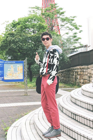 red Topman jeans - black dongdaemun thrifted sweater