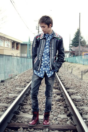 DIY jacket - red 8-eye Dr Martens boots - skulls Comme des Garcon shirt