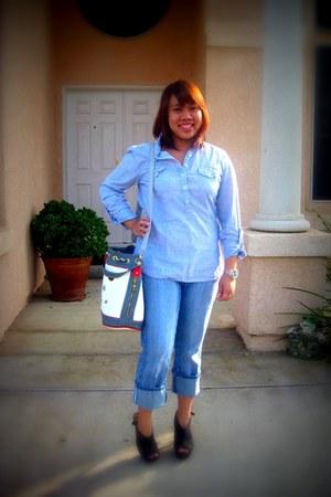 loewe bag - pants - peeptoe Charlotte Russe clogs - blue Charlotte Russe top