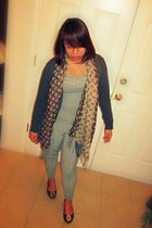 tory burch flats - knitted cardigan - gray intimate - stripes pants