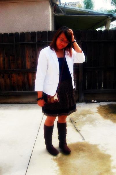 brown brown Candie boots - ivory white blazer - Mango bag - dark brown skirt - n