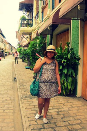 green bag - glitter TOMS shoes - tawny floral print Mossimo dress - eggshell hat