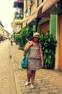Glitter-toms-shoes-tawny-floral-print-mossimo-dress-eggshell-hat-green-bag