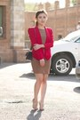 Red-rebecca-minkoff-blazer-camel-aliceolivia-dress-black-chanel-bag