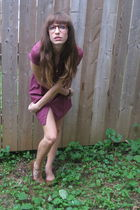 purple Urban Outfitters dress - brown Urban Outfitters shoes - brown vintage gla