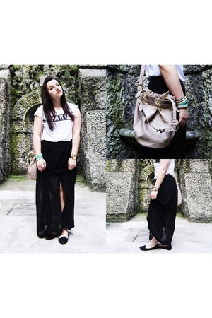 tan Mizensa bag - white pull&bear t-shirt - black H&M skirt