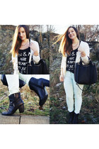 beige H&M sweater - black zalando boots - light blue H&M panties
