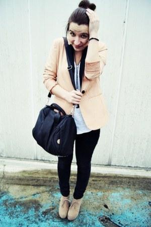 black Mizensa bag - neutral Bershka blazer - black Bershka pants