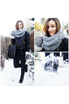 black Fleq boots - black Mango jacket - periwinkle Mohito scarf