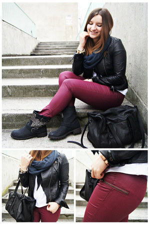 black OASAP jacket - black Zara bag - brick red H&M panties